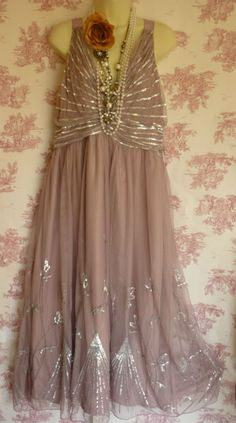BNWT Oli deco charleston flapper 1920's style bead sequin lilac dress 18 wedding | eBay
