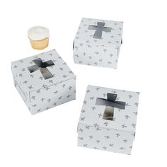 Cupcake Boxes with Crosses - OrientalTrading.com