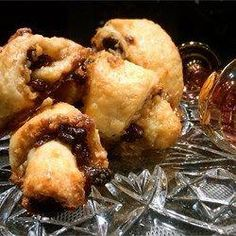 """""""This recipe is from Linda Shapiro. I have many rugelach recipes, but this is truly the best I have ever made."""" Ingredients 2 cups all-purpose flour teaspoon salt 1 cup unsalted butter 1 ounce) Rugelach Cookies, Rugelach Recipe, Just Desserts, Delicious Desserts, Yummy Food, Cookie Recipes, Dessert Recipes, Cookie Ideas, Dessert Ideas"""