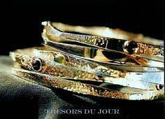 STACKABLE SILVER BRACELETS with hammered texture, gemstones optional by TresorsDuJour