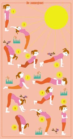 Yoga - Zonnegroet kids illustration