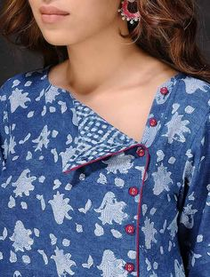 Indigo-White Natural-dyed Dabu-printed Cotton Kurta by Jaypore Salwar Designs, Printed Kurti Designs, Kurta Designs Women, Kurti Designs Party Wear, Simple Kurti Designs, Neck Designs For Suits, Neckline Designs, Dress Neck Designs, Designs For Dresses