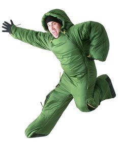 camp equip, stuff, sleep bag, sleeping bags, camping equipment, suits, wearabl sleep, bag suit, travel gadgets