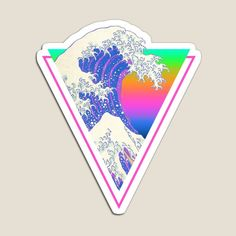 Great Wave Retro 80s Cyberpunk Vaporwave • Millions of unique designs by independent artists. Find your thing. Great Wave Off Kanagawa, Aesthetic Stickers, Canvas Prints, Art Prints, Pretty Wallpapers, Vaporwave, Sticker Design, Cyberpunk, Magnets