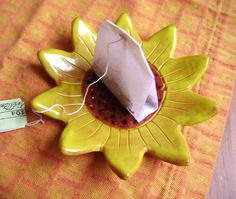 Sunflower Ceramic Madge Dish, bowl, catchall, jewelry, ring holder, decor, soap dish, candle holder, teabag holder, spoonrest.