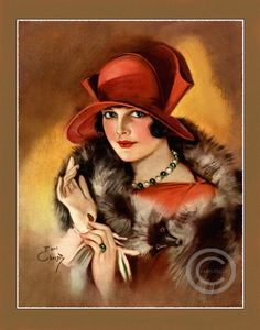 Beautiful Art Deco Flapper Fashionably Dressed Wearing a Fabulous Red Hat Fur Jewelry and gloves Art Print by Earl Christy Art Deco Illustration, Illustrations Vintage, Vintage Prints, Vintage Posters, Vintage Art, Art Deco Stil, Art Deco Era, Art Nouveau, Vintage Pictures