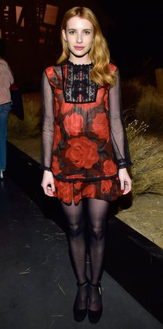 Emma Roberts - Coach fashion show in NYC Sheer Tights, Black Tights, Red Blouses, Blouses For Women, Chiffon Blouses, Star Fashion, Girl Fashion, Emma Roberts Style, Evening Outfits