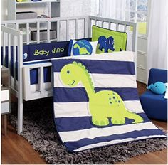 Cute dinosaur crib baby bedding sets for your nursery with dinosaur themed designs.  Also personalized dinosaur baby blankets and dinosaur fabric for DIY baby nursery projects.
