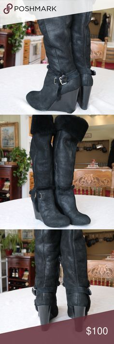 Eddie Bauer Wedge Boots Adorable wedge heel boots with fur trim. Sadly after my knee surgery I have a tough time wearing heels so they have to go. Worn only a couple o f times, in like new condition. Size 8, true to size. Eddie Bauer Shoes Heeled Boots