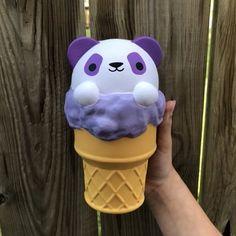 Soft n slo purple panda ice cream squishie Homemade Squishies, Jumbo Squishies, Cute Squishies, Cake Squishy, Slime And Squishy, Squishy Kawaii, Ibloom Squishies, Balle Anti Stress, Cute School Supplies