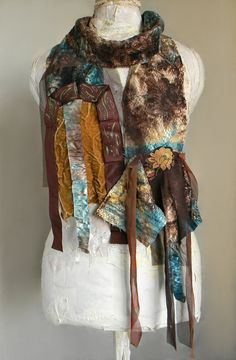 Boho Long Scarf in Teal and Brown Lace Scarf Wrap by Elyseeart