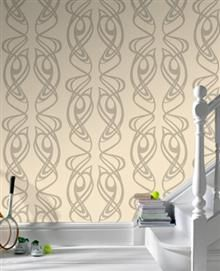 Barbara Hulanicki Wallpaper Diva 18103 - I adore this, I have it as a feature wall in our master bedroom. Beige Wallpaper, Art Deco Wallpaper, Designer Wallpaper, Pattern Wallpaper, Barbara Hulanicki, Art Nouveau Interior, Bathroom Accent Wall, Wall Stencil Patterns, Sticky Back Plastic