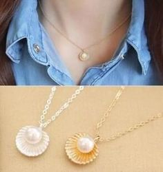 Dainty Pearl in Shell Necklaces  **Available in Gold or Silver Tones**
