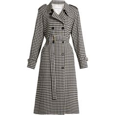 Sonia Rykiel Gingham wool trench coat ($1,231) ❤ liked on Polyvore featuring outerwear, coats, military style wool coat, woolen trench coat, military style trench coat, sonia rykiel and sonia rykiel coat