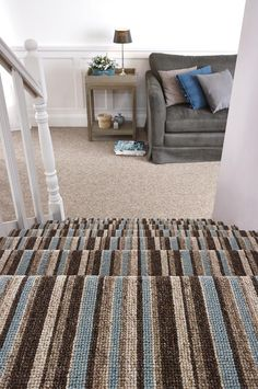 Decoration Carpet Runners: Make Stairs Look Fabulous: Striped Carpet Runner Colorous For Stairs Belfast Design Ideas Grey Carpet Bedroom, Hallway Carpet, Beige Carpet, Wall Carpet, Carpet Flooring, Stair Carpet, Black Carpet, Striped Carpet Stairs, Striped Carpets