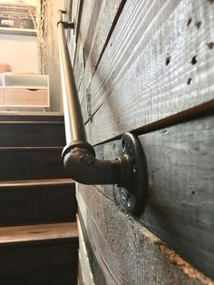 Our Industrial Pipe Handrails add a unique touch to your home or business! Skip the boring hand rail and upgrade with a unique, easy to install, pipe railing. We make a variety of sizes and welcome custom orders as well! Each railing is finished wi Industrial Handrail, Metal Industrial, Industrial Basement, Industrial Farmhouse Decor, Industrial Safety, Rustic Basement, Vintage Industrial, Rustic Farmhouse, Industrial Style