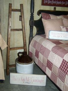 "This reproductuin 4 poster bed, ladder, and sgns was handcrafted by Stan & Karen Doty ""Doty's Primitive Porch""."
