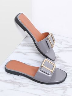 To find out about the Grey Metal Detail Patent Leather Slider Sandals at SHEIN, part of our latest Slippers ready to shop online today! Shoes Flats Sandals, Slipper Sandals, Sandals Outfit, Shoe Boots, Fashion Slippers, Fashion Shoes, Leather Sandals Flat, Patent Leather, Grey Leather