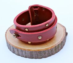 Riveted Leather Cuff Red Leather Bracelet Unisex Amy by amyfine,
