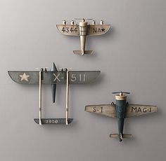 Vintage Model Airplane wall decor for nursery RH baby&child
