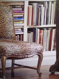 vintage french chair upholstered in leopard