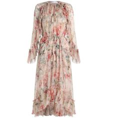 ZIMMERMANN Mercer Floating Dress featuring polyvore women's fashion clothing dresses ruffle sleeve dress flutter sleeve dress summer midi dresses neck ties floral summer dresses