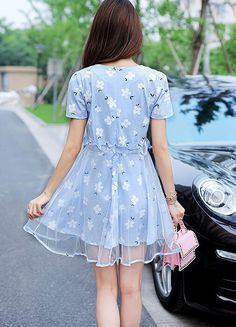 2015 Summer Cute Slim Small Fresh Dress Gauze Stitching Print Fluid Systems Dress O neck Short sleeved Dress M 2XL-in Dresses from Women's Clothing & Accessories on Aliexpress.com   Alibaba Group