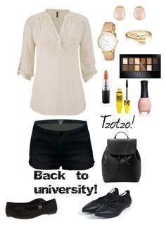 """Back to university 2!"" by tzotzo1 ❤ liked on Polyvore featuring maurices, Rocket Dog, MANGO, Kenneth Jay Lane, Bling Jewelry, Kate Spade, MAC Cosmetics, Maybelline, ORLY and women's clothing"