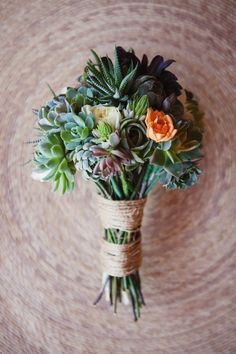 Mixology...spring bulbs/succulent sprigs  twine or floral tape wrapped & placed in a small vessel ..enough water to wet stem bases..