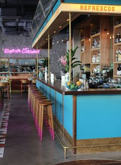 corner of Singapore is going Super Loco for the fast food of rustic old Mexico diners. Mexican Restaurant Design, Deco Restaurant, Restaurant Concept, Colorful Restaurant, Mexican Bar, Carnival Restaurant, Seaside Restaurant, Mexican Restaurants, Fast Food Restaurant