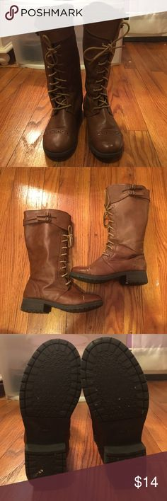 Tommy Hilfiger brown boots Tommy Hilfiger brown combat boots! Peeled a little bit at the toe but still in awesome condition! Tommy Hilfiger Shoes Combat & Moto Boots