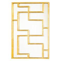 Worlds Away Lotus Gold Leafed Rectangular Oriental Mirror Panel @Zinc_Door