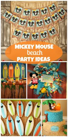 Check out this Mickey Mouse beach party with surfboard cookies and a fun welcome wreath!  See more party ideas at CatchMyParty.com!