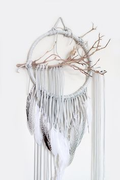 "Branch Dreamcatcher, Warbler - 10"", white dream catcher, boho, large, leather, feathers, rose gold wall art by BartonHollow on Etsy"