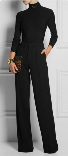 😃Learn to style a classy black turtleneck sweater outfit in a casual way for the office or for work. Black turtleneck outfit offices are chic and clas Classy Outfits, Stylish Outfits, Dressy Winter Outfits, Work Outfit Winter, Chic Black Outfits, Black On Black Outfits, Summer Outfits, Classy Business Outfits, Business Fashion