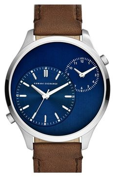 Free shipping and returns on AX Armani Exchange Dual Time Leather Strap Watch, 48mm at Nordstrom.com. Two subdials keep separate time so you can track two time zones on the handsome blue dial of this contemporary leather-strap watch.