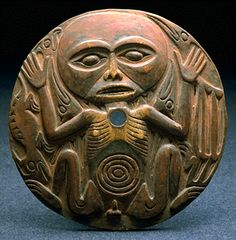 """Salish; Vancouver Island, B.C.; wood.    ---   Essay at Link: """"Coast Salish Spindle Whorl: From Practical Use to Present Day Art"""" by Kristin Wood, © COMM 4843: Anthropology of Northwest Native Peoples, October 7, 2006, University of Washington"""