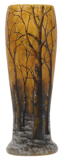 Daum Nancy Cameo Glass WinterLandscape Vase