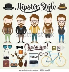 Hipster character illustration in info graphic concept background with hipster…