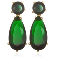 Goldplated Silver 11 1/5 TCW Simulated Emerald Dangle Earrings (€35) ❤ liked on Polyvore featuring jewelry, earrings, fake earrings, long earrings, emerald drop earrings, emerald jewellery and fake emerald earrings