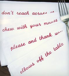 Mind Your Manners Cloth Dinner Napkins