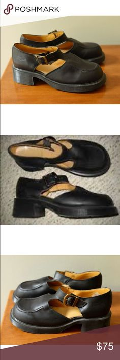 DR MARTENS black leather mary jane t strap shoes These wonderful, rare, vintage Dr. Martins are truly one of a kind. Made in England. Size 7. (US women's 7)  Vintage condition  Very comfortable   adjustable strap Dr. Martens Shoes Mules & Clogs