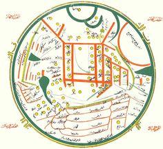 Turkic World Map. Mahmud Kashgari's map of the Turkic world from the late century. Old World Maps, Old Maps, Vintage Maps, Antique Maps, Journey To The Past, Orange Line, Famous Books, 11th Century, City Maps