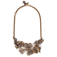 Alexander Mcqueen Swarovski crystal floral statement necklace (15 955 SEK) ❤ liked on Polyvore featuring jewelry, necklaces, metallic, fancy necklace, swarovski crystals necklace, antique jewellery, fancy jewelry and leaves necklace