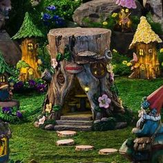 Visitors to your fairy garden will be delighted when the lights come on at dusk in this tree stump fairy house. An outdoor light fixture lights up as well as a light shines down giving a lovely view of the table and chairs.