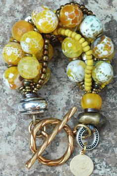 Aboriginal Bracelet: Faceted Yellow Agate, Bronze, Gold and Silver Multi-Strand Bracelet