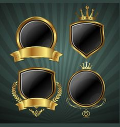 Gold and black shield with gold laurels 06 vector image on VectorStock Free Vector Images, Vector Free, Royal Background, Laurel Wreath, Single Image, Coat Of Arms, Adobe Illustrator, Wreaths, Graphic Design