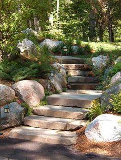 Landscape Stairs, Landscape Design, Landscape Architecture, Hillside Landscaping, Landscaping Ideas, Hillside Garden, Outdoor Landscaping, Stone Stairs, Stone Walkway