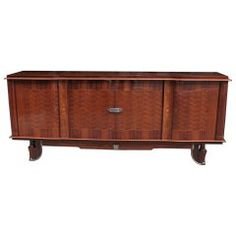 Jules Leleu Inspired French Art Deco Marquetry Buffet
