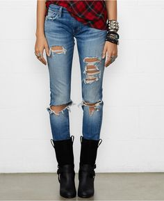 Denim & Supply Ralph Lauren Distressed Skinny Jeans, Made from right-hand cotton twill, Denim & Supply Ralph Lauren's skinny-fitting jean features edgy allover rips and repairs.